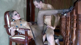 Dolled-up sec in black stretchy fishnet hose scoring with a horny naked guy videos