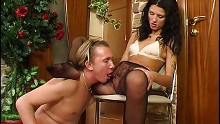 Slim brunette puts on black sheer-to-waist hose while waiting for her lover videos