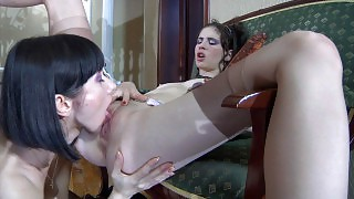 Dark-haired lesbians in smooth stockings reveal their dildo-toying skills videos