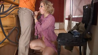 Lewd mature blonde munching on fresh meat and getting dicked on the stairs videos