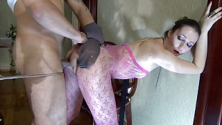 Topless babe changing into pink fashion tights for a fuck in pantyhose maze videos