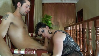 Sex-crazed milf pulls down a guy\s pants aching to taste his meaty stick videos