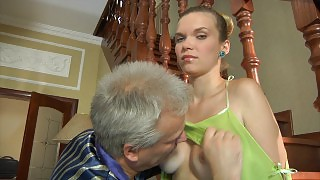 Nubile next-door girl sweet talked into a steamy quickie by a lusty old man videos