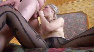 Glamour gal in patterned pantyhose gets spread on a bed for mighty dicking videos