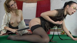 Horny lezzie in tan stocking using a cue for lez games with her girlfriend videos
