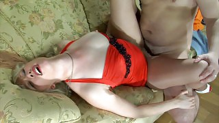 Hot gal puts on her red gown and smooth control top hose for wild nylon sex videos