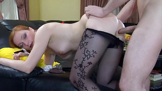 Fiery redhead changes her tan hose for black patterned ones and gets nailed videos