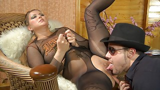 Stacked gal gets pussy eaten and boned thru her fashion sheer-to-waist hose videos