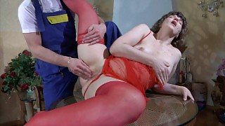 Fiery mature chick in red asks a handyman to explore her dripping crotch videos