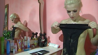 Eye-catching blonde gets overwhelmed by the feel of black patterned tights videos