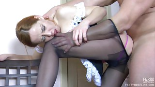 French maid in lacy hose ready for extra work revealing her fucking skills videos
