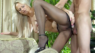 Blonde in black sheer-to-waist pantyhose gets her ass fingered and dicked videos