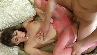 Funky girl in pink patterned pantyhose sucking cock and getting crammed videos