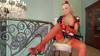 Vivacious chick wears nurse uniform and tears her red plain-top stockings videos