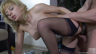 Hot blonde maid in black stockings with a satin garter worshipped and boned videos