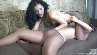 Lesbian gals learn the ropes of lez kissing and play in their soft pantyhose videos