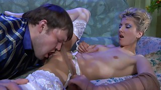 Sultry babe in white shiny stockings parts her legs for a fucking session videos