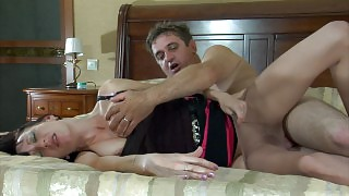 Passion driven couple hardly makes it to the bed to have hot pantyhose sex videos