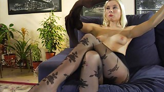 Stylish blondie opens new packs with fashion and sheer-to-waist pantyhose videos