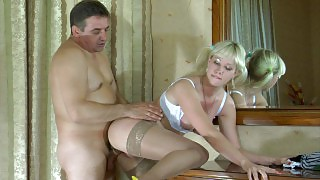 Old gent and a cute lass exchange oral job before going for wild screwing videos