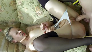 Pretty girl in full-fashioned nylons handles her guy\s cock in the bathroom videos