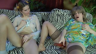 Pony-tailed gal shares her beloved sex toy with an experienced mature lesbo videos