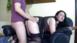 Randy babe in black stockings going from cock-sucking to doggystyle fucking videos