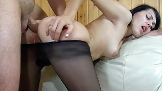 Awesome chick in dark pantyhose getting her ass ready for a stiff pecker videos