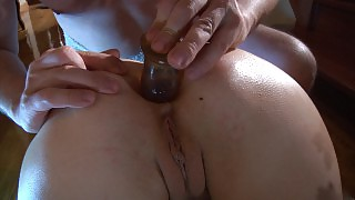 Stripped naked hottie getting her anal plug replaced with a sturdy pecker videos
