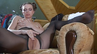 Babe in-heat wearing black open crotch hose for some urgent clit rubbing videos
