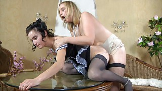 Cute French maid fulfills lesbo kinks of her mature strap-on armed mistress videos