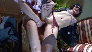 Sexy spy gets her gartered stockings worshipped and fucked by a nylon freak videos