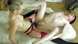 Stockinged cutie switches roles with her guy letting him ride her strapon videos