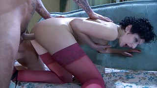 Lustful chick with her ass stuffed with a dildo gets a dosage of male meat videos