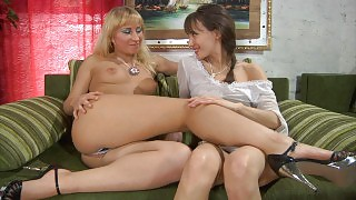 Lesbian temptress peels off her lacy panties for lez kissy-licky making out videos