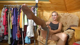 Delicious blonde trying on some soft silky nylon and sexy fishnet tights videos