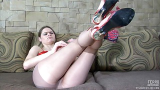 Tall and lean gal tenderly touching every her toe of her feet thru her hose videos