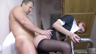 Kinky French maid in barely black pantyhose going for doggie on the stairs videos