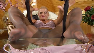 Masturbating blonde settles for darker crotchless hose smeared in her juice videos