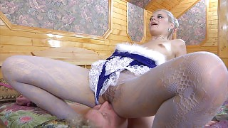 Blonde vixen in fancy mesh tights uses a pantyhose mask for fetish fucking videos