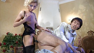 Leggy blonde makes a guy blow her rigid rubber rod and take it up the brown videos