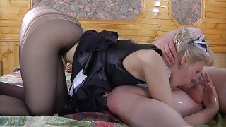 Blonde French maid getting drilled thru her sheer-to-waist black pantyhose videos