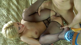 Blond office girl getting her black hose ripped open for a hot morning fuck videos