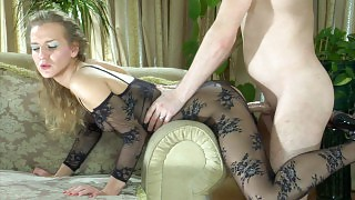 Sassy gal flaunts in a black open crotch bodystocking hungry for some meat videos