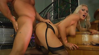 Nasty chick in black gartered stockings takes the most from fucking games videos