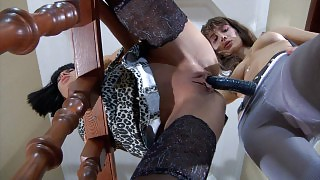 Sassy pantyhose clad young vixen lures a hot mature into a lez strapon fuck videos