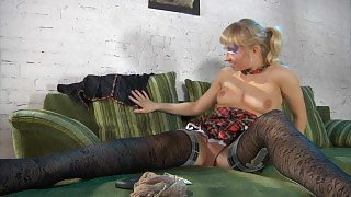 Blonde busty chick looks smoking hot in her exclusive patterned stockings videos
