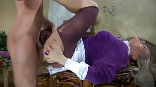 Upskirt maid gets her purplish pantyhose ripped to shreds for a belly ride videos